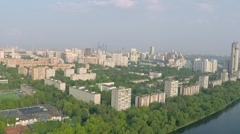 Aerial pan shot of Moscow and Moscow river, western wealthy part of the city Stock Footage