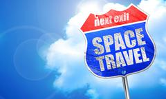 Space travel, 3D rendering, blue street sign Stock Illustration