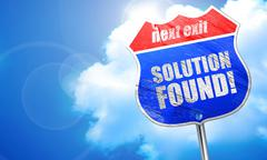 Solution found!, 3D rendering, blue street sign Stock Illustration