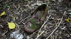 Old Boot In Moss Stock Footage