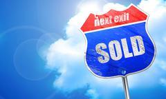 Sold sign background, 3D rendering, blue street sign Stock Illustration