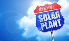 solar plant, 3D rendering, blue street sign - stock illustration