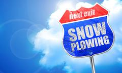 Snow plowing, 3D rendering, blue street sign Stock Illustration