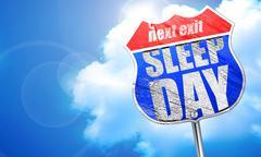 Sleep day, 3D rendering, blue street sign Stock Illustration