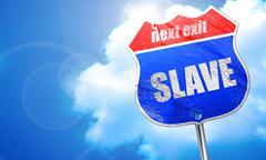 Slave, 3D rendering, blue street sign Stock Illustration