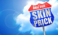 Skin prick, 3D rendering, blue street sign Stock Illustration