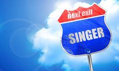 Singer, 3D rendering, blue street sign Stock Illustration