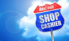 Shop cashier, 3D rendering, blue street sign Piirros