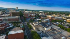 Aerial Flying Over Greenville South Carolina At Sunset Stock Footage