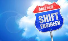 Shift engineer, 3D rendering, blue street sign Stock Illustration
