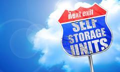 self storage units, 3D rendering, blue street sign - stock illustration