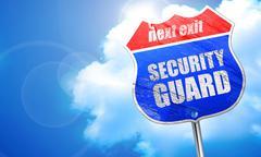 security guard, 3D rendering, blue street sign - stock illustration
