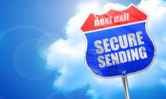 Secure sending, 3D rendering, blue street sign Stock Illustration
