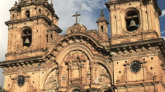 Zoom in shot of the church of the society of jesus in cusco Stock Footage
