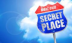 secret place, 3D rendering, blue street sign - stock illustration