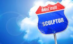 sculptor, 3D rendering, blue street sign - stock illustration