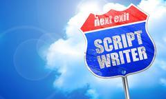 Script writer, 3D rendering, blue street sign Piirros