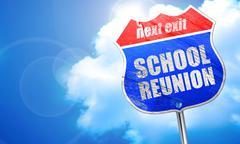 School reunion, 3D rendering, blue street sign Stock Illustration