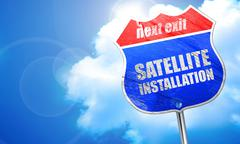 Satellite installation, 3D rendering, blue street sign Stock Illustration