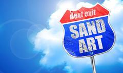 Sand art, 3D rendering, blue street sign Stock Illustration