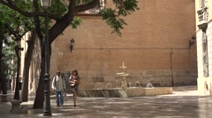 fountain beside   National Ceramics Museum  Valencia city    Spain - stock footage