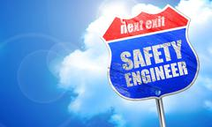 Safety engineer, 3D rendering, blue street sign Stock Illustration