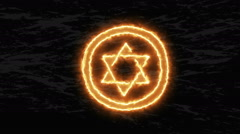 Fire Pentagram. Satanic sign, gothic style Stock Footage