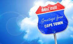 Greetings from cape town, 3D rendering, blue street sign Stock Illustration