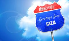 Greetings from giza, 3D rendering, blue street sign - stock illustration