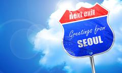 Greetings from seoul, 3D rendering, blue street sign Piirros