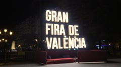 Sign with lights in the city of Valencia in Spain Stock Footage