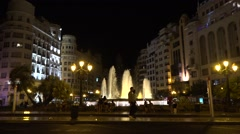 Night  view of Placa del Ajuntament  Valencia city  Spain Stock Footage