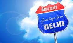 Greetings from delhi, 3D rendering, blue street sign - stock illustration