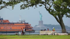 Staten Island Ferry Passes Statue Of Liberty Stock Footage