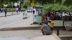 Swaying Tree Branches Canopy Man Resting at Border Crossing  Stock Footage
