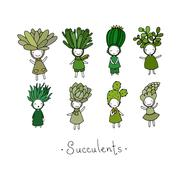Graphic set with cute cartoon succulents Stock Illustration