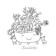 Cartoon cute succulents in pot Stock Illustration