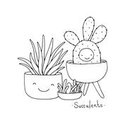 Cartoon cute succulents in pot - stock illustration