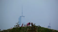 World Trade Center From Governors Island Stock Footage