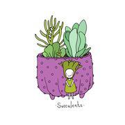 Cartoon cute succulents in pot Stock Illustration