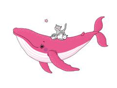 Big beautiful pink whale and three cute little gray kitten Stock Illustration
