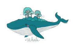 Big beautiful whale to the wood on the back Stock Illustration
