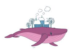Big beautiful whale with houses and trees in the back - stock illustration