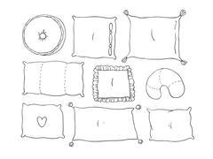 Types of sleeping pillows set - stock illustration