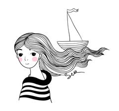 Beautiful young girl sailor with the ship in her hair Stock Illustration