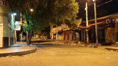 View of quiet urban Latin American street at night (HD) Stock Footage
