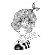 Beautiful young girl sailor Stock Illustration