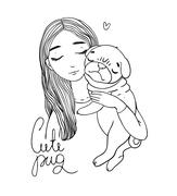 Beautiful young girl and a cute pug - stock illustration