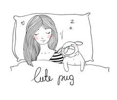Sleeping beautiful young girl and a cute pug - stock illustration