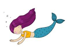 Beautiful little mermaid - stock illustration